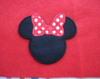 Mrs Misses Minnie Mouse Ears Red Polka Dot Bow Iron on No Sew Embroidered Patch Applique