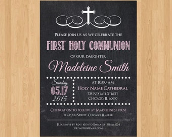 First Communion Invitation Girl, First Communion Invitations for Girls, First Communion Invitation Printable, Party Girl Twins Chalkboard