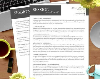 Session Contract Form - MsWord and Photoshop Template for Photographers - INSTANT DOWNLOAD - SC002
