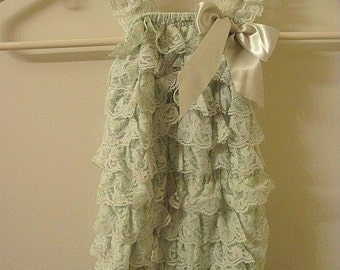 Baby Toddler Ruffle Petti Romper With Straps Celery Size LARGE