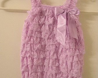 Baby Toddler Ruffle Petti Romper With Straps Lavender Large