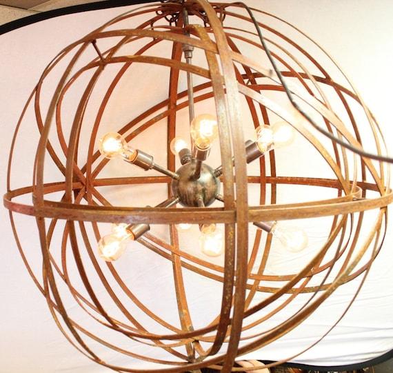 Orb Chandelier Industrial Sphere Inside Sphere Sputnik