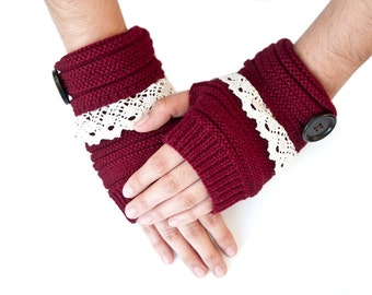 Lace Trim Button Fingerless Hand Warmers, Fingerless Gloves, Cable Knit Gloves-Maroon