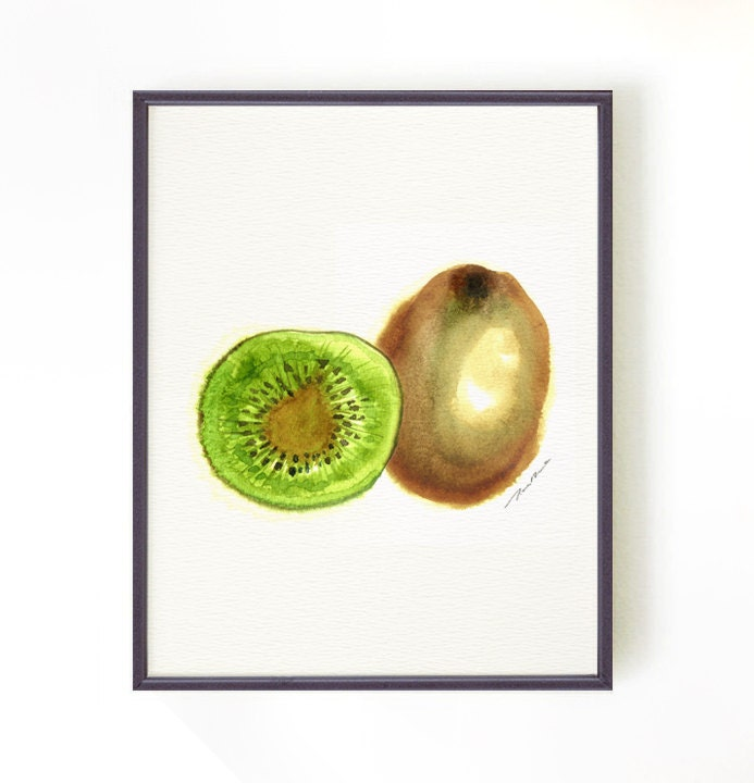 Kitchen Art Nz: Kiwi Fruit Watercolor Painting Kitchen Art New Zealand Fruit