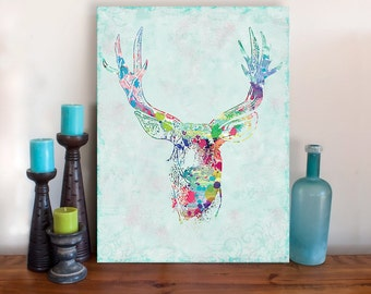 Oh Deer Art - Stretched Canvas Print - Deer Buck Deer Watercolor Mixed Media Art Painting