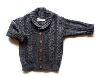 Babies/Children's/Toddlers Cable knit Merino wool Shawl collar Cardigan/sweater/pullover