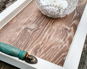 Serving Tray-Wood-Tile-Turquoise Wooden Handles-Handmade-Distressed White Barnwood Finish-Quick Custom Available-Ottoman-Rustic Contemporary