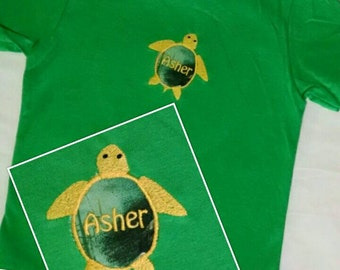 Sea Turtle Appliqued Monogrammed T-Shirt