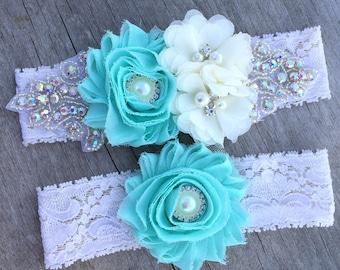 wedding garter , rhinestone wedding garter , Mint garter , Aqua garter , Blush ANY color