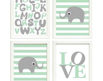 Elephant Nursery Art Set of 4 Prints Grey Mint Green Stripes LOVE Alphabet ABC Child Kids Room Wall Decor
