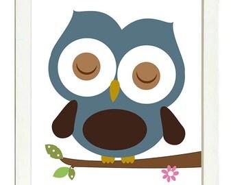 Blue Brown Owl Nursery Art Print Branch Boys Nursery Art Child Kid Room Wall Decor