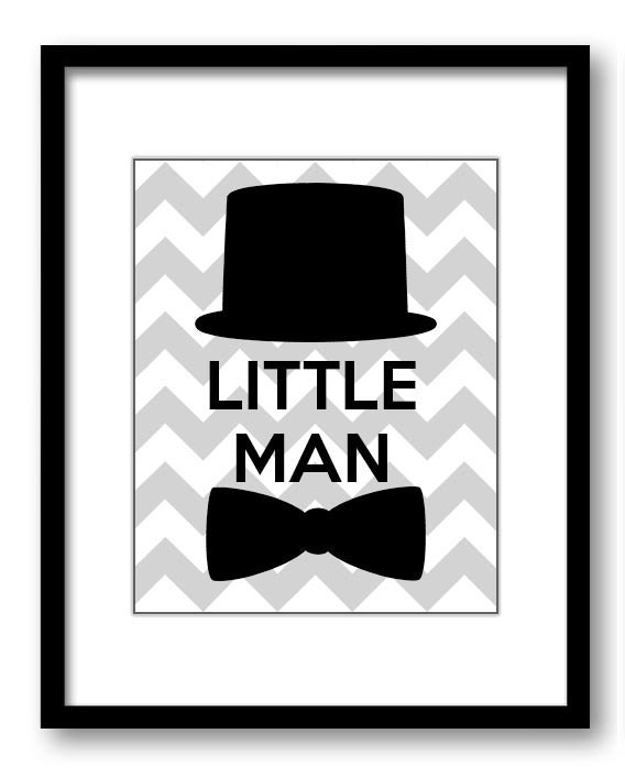 Black Light Grey Gray Little Man Nursery Art Nursery Print Tophat Bowtie Child Baby Art Print Boys K