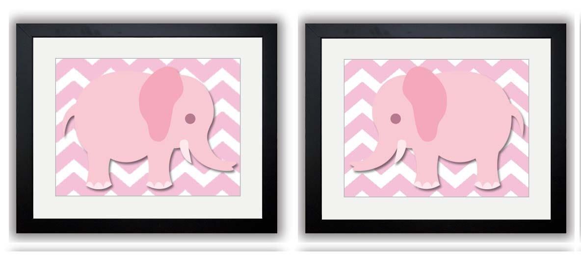 Pink Chevron Pink Elephant Nursery Art Nursery Print Set of 2 Elephants Child Art Prints Girl Kids R