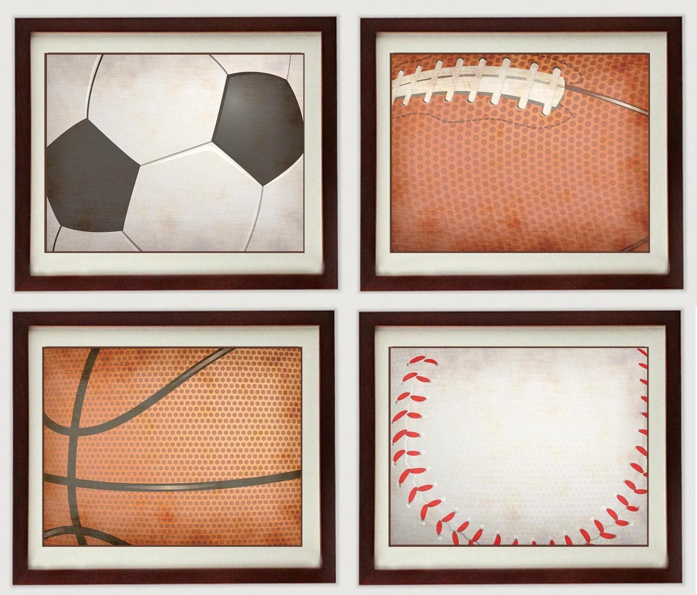 Vintage Sports Equipment Nursery Art Kid Children Ball Art Set of 4 Prints Boy Soccer Baseball Footb