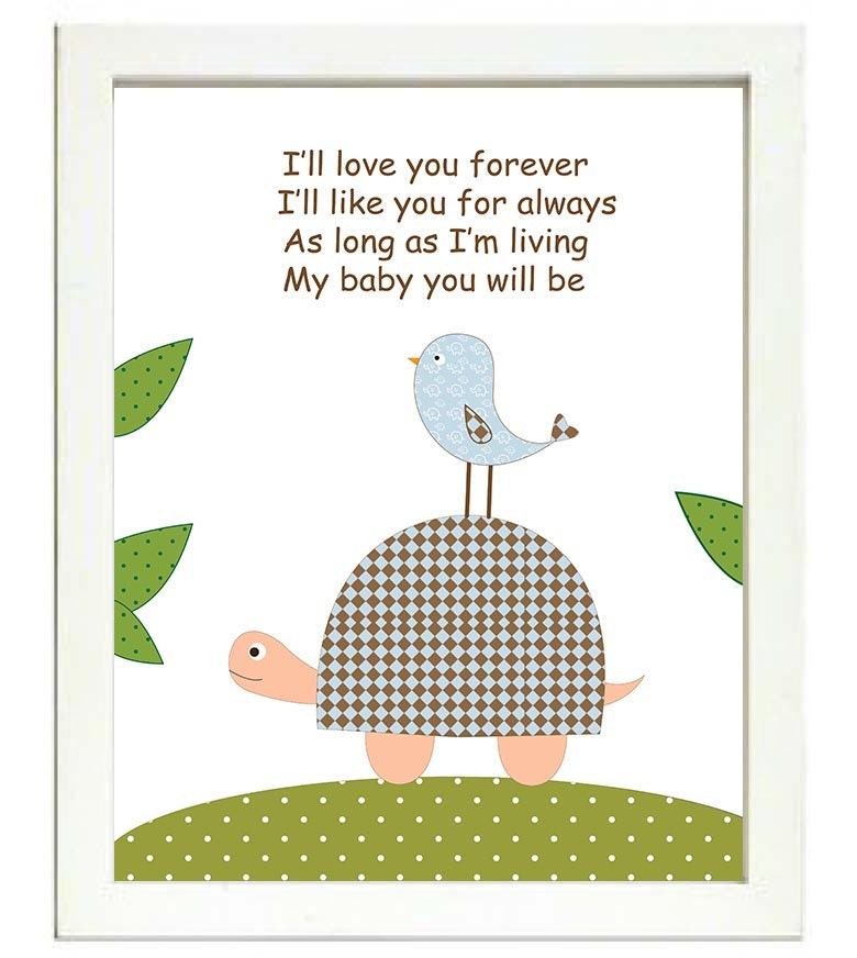 Turtle Nursery Art Print Ill love you forever Ill like you for always As long as Im living My baby y