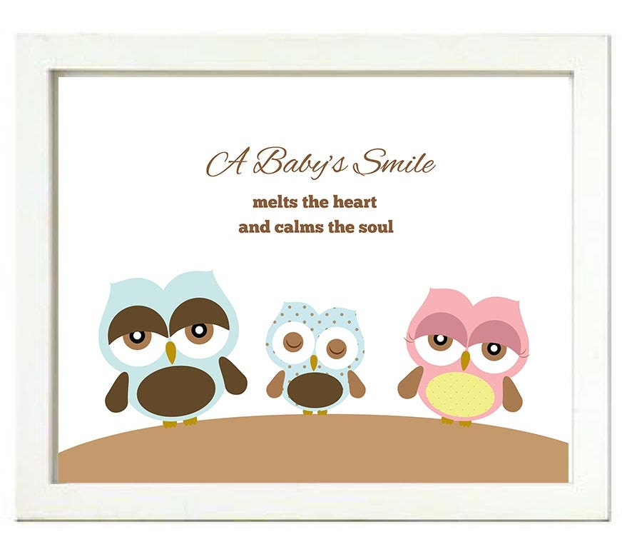 Baby Owl Family Nursery Art Print A Babys Smile melts the heart and calms the soul Boy Blue Pink Bro