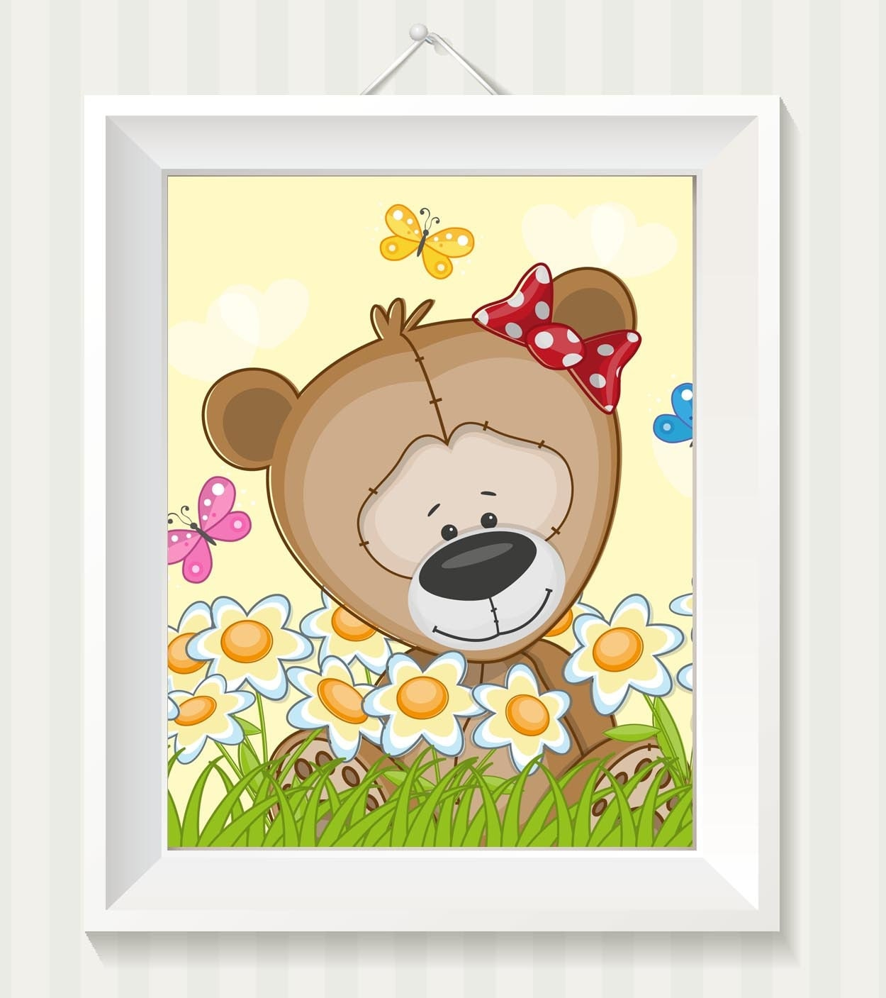 Girl Teddy Bear Nursery Art Nursery Print Teddy Bear Baby Baby Animal Brown Yellow Dasies Flowers Pr