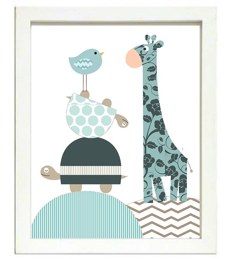 Turtle Giraffe Bird Nursery Art Nursery Print Baby Art Animal Navy Blue Brown Polka Dots Chevron Str