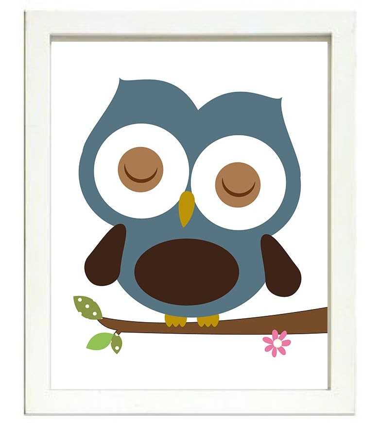Blue Brown Owl Nursery Art Print Branch Boys Nursery Art Child Kid Room Wall Decor