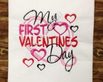 My first Valentines day! Girls Valentines Day Outfit, Baby Valentines Day Outfit, Valentines Shirt, Valentine's Day Shirt Baby Girl