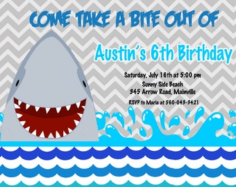 Shark  Birthday Party Invitation Printable, Swim Party, Pool Party, Waterslide, Under the Sea, Boys