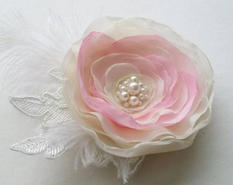 Pink ivory flower hair clip Pink accessory Flower with feathers Bridal Bridesmaids hair accessory