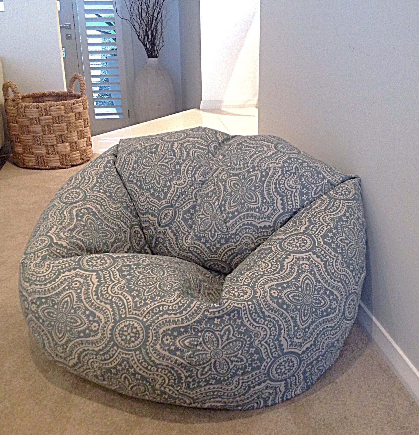 Boho Bean Bag Cover Dusty Blue Beanbag Moroccan Bohemian