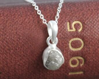 Sterling Silver Rough Diamond Necklace - April Birthstone