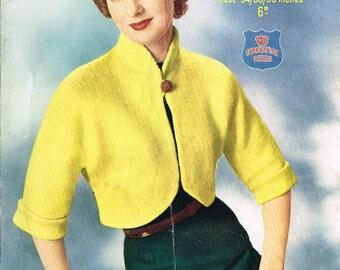 Ladies vintage retro Bolero cardigan knitting pattern for modern knitting. PDF Instant download