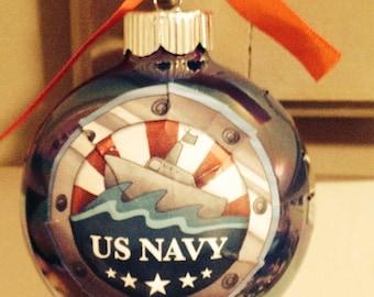 US Navy glass ornament-baseball size