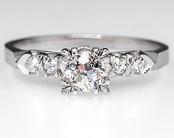 Antique 1930's .47 Carat Round Old Euro Cut Diamond Engagement Wedding Ring in 14K White Gold WM8753