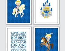 "Medieval Prince Nursery Art, Knight Nursery Decor, Baby Boy Knight Wall Art Print, Blue Prince Nursery Art, Knight Nursery Art 8x10"""