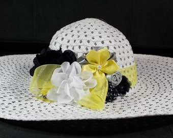 Kentucky Derby Hat- White, Yellow, Grey, Black