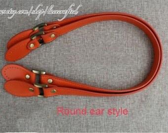1pair 62x2cm PU leather purse handles,leather handles,leather strap,bag handles,leather handbag handles,Purse Handle Orange Round ear handle