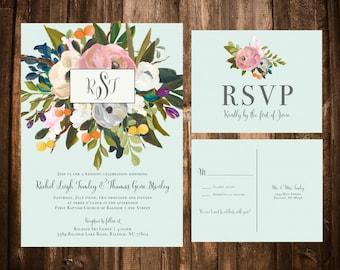 Mint Blooms Wedding Invitation Suite; Floral, Spring