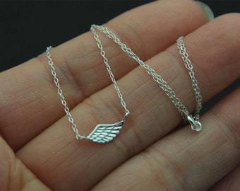 Dainty, tiny  all Sterling Silver angle necklace, Angel Wing Necklace, Sterling Silver Angel Necklace, Silver Wing Necklace, Friend, Sister,