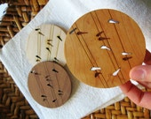 Wood Coasters - Set of 4 - Engraved Coasters - Birds on Wire