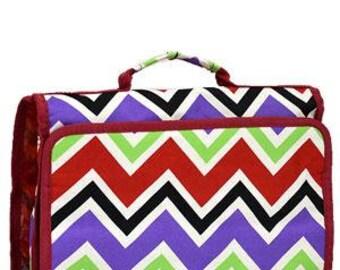 Machine Embroidered Tri-Fold Cosmetic Bag.  Multicolor chevron pattern