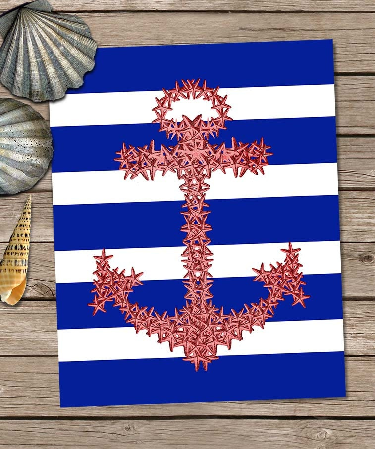 Red Starfish Wall Decor : Starfish anchor in red blue and white art print wall
