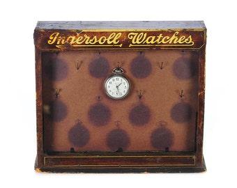 Ingersoll Original c.1920s Pocket Watch Store Display Case-Rare
