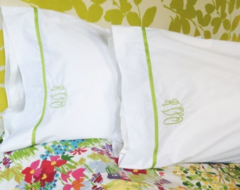 Monogram Standard Pillow Cases with Ribbon Trim / Monogram Bedding - Set of 2