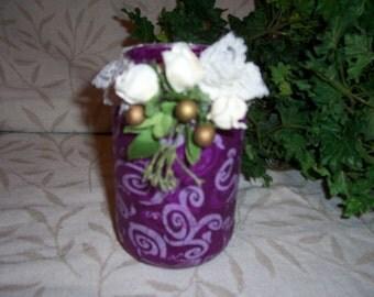 White/Purple Brighton Tissue Decoupage Jar