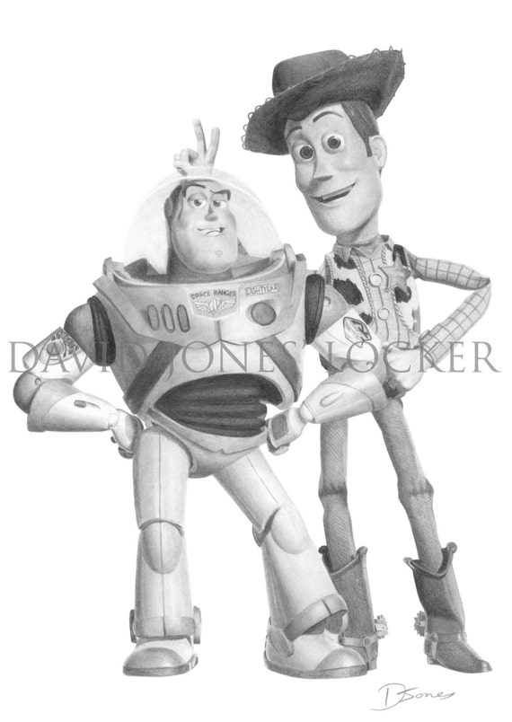 WOODY AND BUZZ - Print of Graphite DrawingWoody And Buzz Drawing