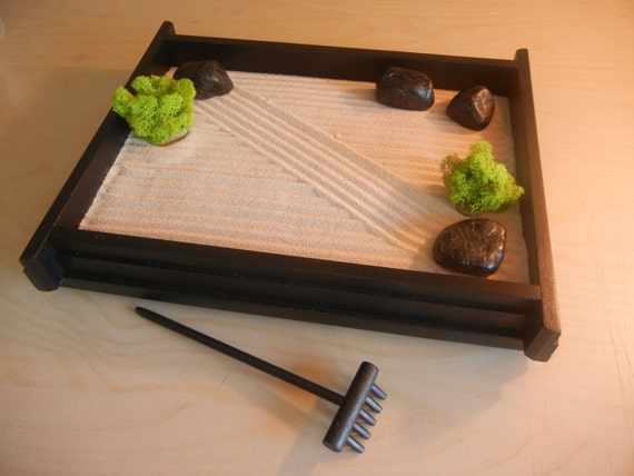 M 01 medium desk or table top zen garden by critterswoodworks for Table zen garden