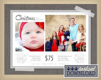 Winter White Holiday Mini Session Photography Template - Christmas Mini Session Winter Digital Marketing Board Flyer