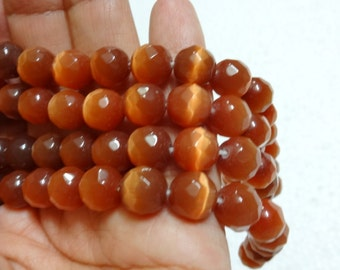 Faceted Brown Glass Beads - full Strand