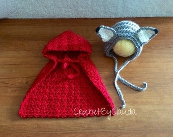 Crochet Little Red Ridding Hood and Big Bad Wolf Bonnet/Crochet Bonnet/Made to Order