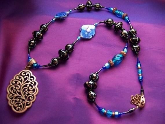 Beaded Moroccan Fantasy Pendant Necklace, Copper Pendant Necklace, Women's Tunic Beaded Necklace, Exotic Beaded jewelry, #51