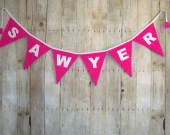 Pink Name Banner - Solid Name Banner - Color Bunting - hot pink flags / girls name banner