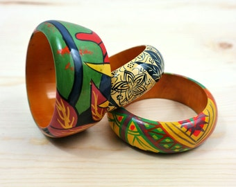 Vintage 90's Painted Bamboo Cuffs
